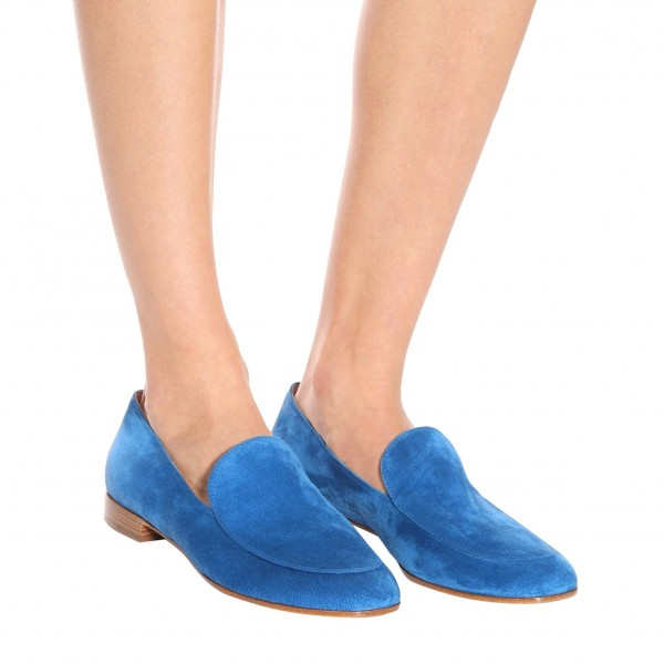 Royal Blue Round Toe Suede Loafers for Women Comfortable Flats image 4