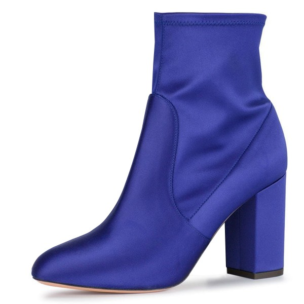 f535a8d56c5 Royal Blue Satin Ankle Boot chunky Heel Boots image 1 ...
