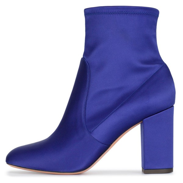 Royal Blue Satin Ankle Boot chunky Heel Boots image 2