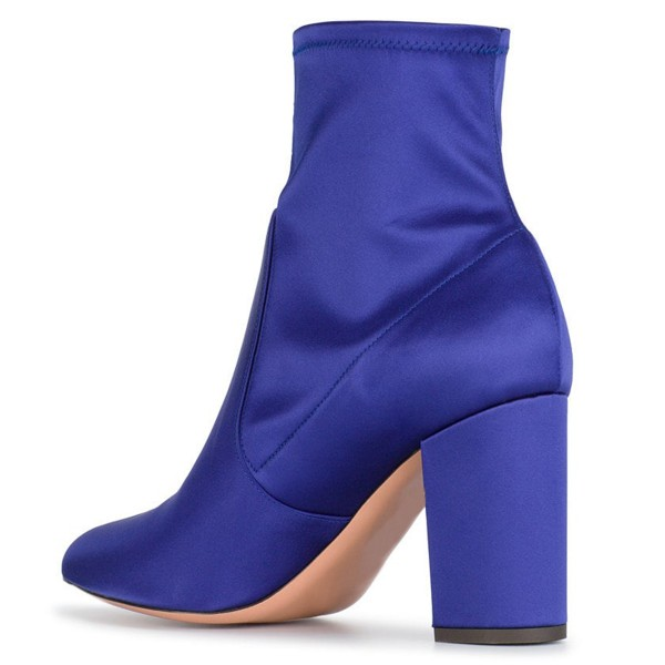 Royal Blue Satin Ankle Boot chunky Heel Boots image 4