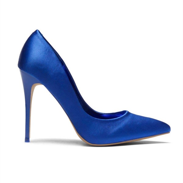 Royal Blue Satin Pointy Toe Stiletto Heels Pumps for Women image 2