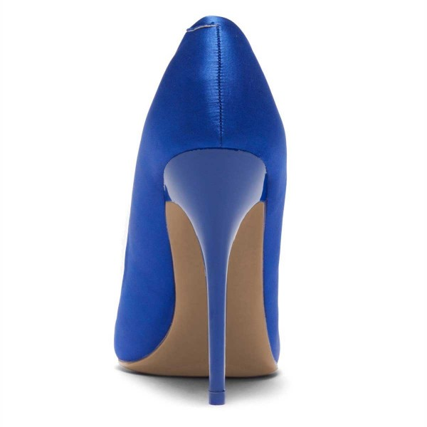 Royal Blue Satin Pointy Toe Stiletto Heels Pumps for Women image 4