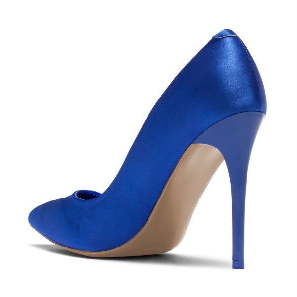 Royal Blue Satin Pointy Toe Stiletto Heels Pumps for Women image 3