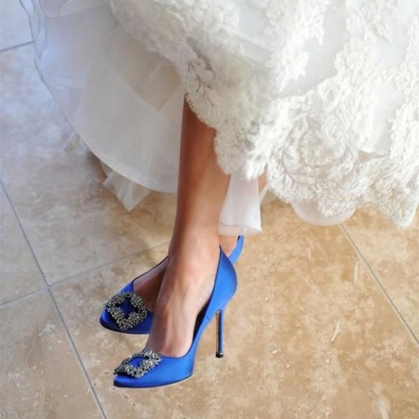 Blue Bridal Heels Satin Rhinestone Wedding Pumps image 1