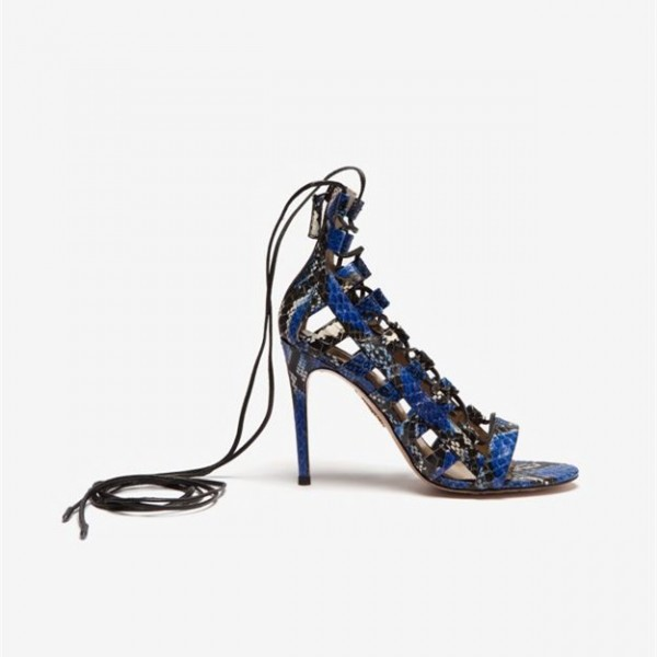 Royal Blue Strappy Sandals Python Lace up Open Toe Stiletto Heels   image 3