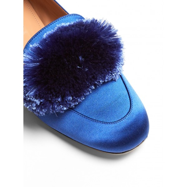 Royal Blue Square Toe Pom Pom Shoes Comfortable Loafers for Women image 3