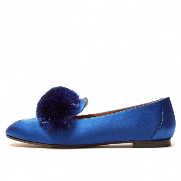 Royal Blue Square Toe Pom Pom Shoes Comfortable Loafers for Women image 1