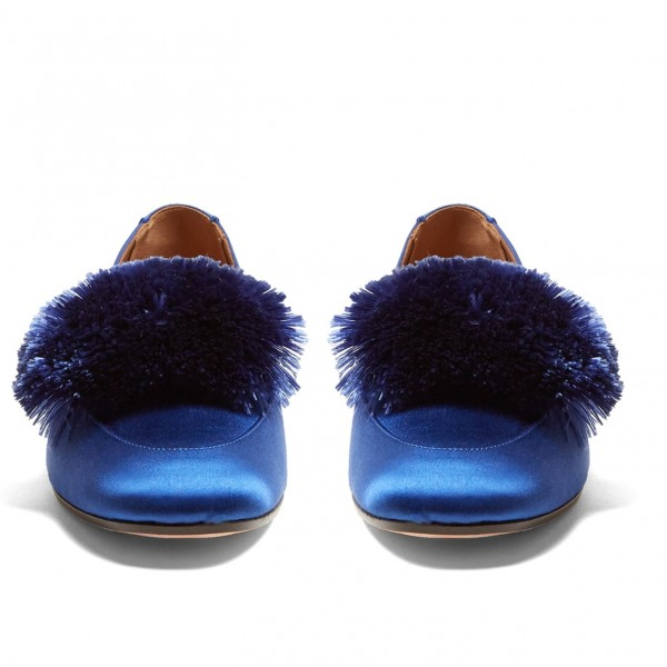 Royal Blue Square Toe Pom Pom Shoes Comfortable Loafers for Women image 4