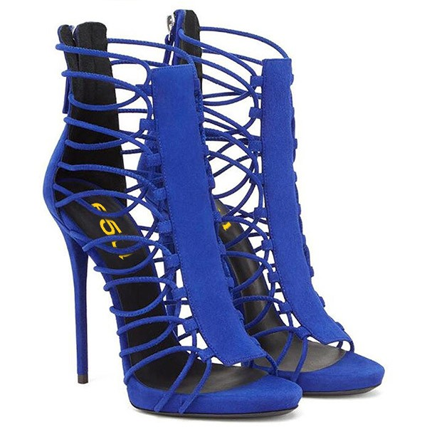 Royal Blue Stiletto Heels Gladiator Sandals Zipper Strappy Sandals ...