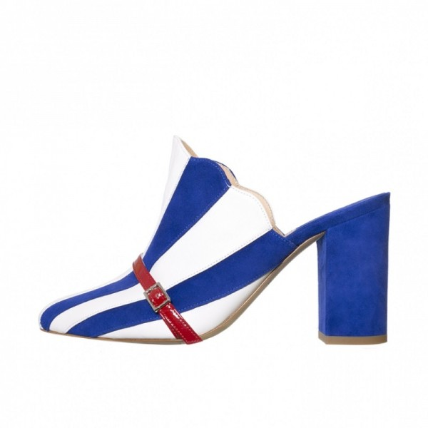 Royal Blue and White Stripes Mule Heels Closed Toe Chunky Heels image 1