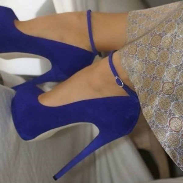 Royal Blue Heels Suede Ankle Strap Stiletto Heels Platform Pumps image 1