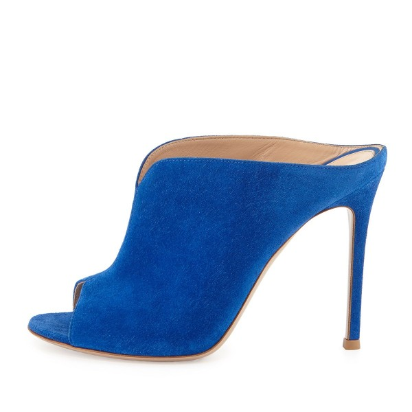Cobalt Blue Shoes Peep Toe Suede Stiletto Heel Mules for Office Ladies image 2