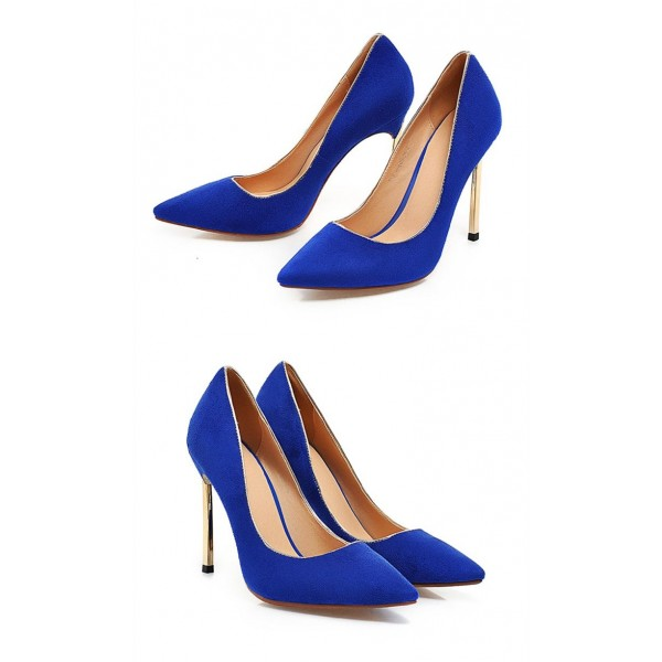 Royal Blue Heels Pointy Toe Suede Pumps Stiletto Heels image 4