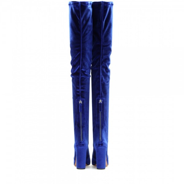 FSJ Shoes Women's Royal Blue Long Boots Chunky Heels Thigh-high Boots image 3