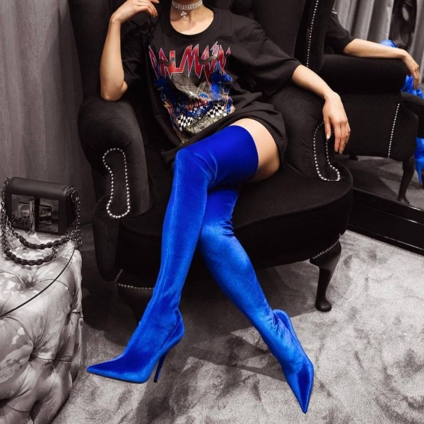 Royal Blue Thigh High Heel Boots Pointy Toe Stilettos Heel Boots image 1