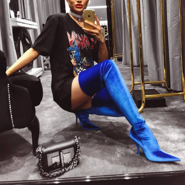 Royal Blue Thigh High Heel Boots Pointy Toe Stilettos Heel Boots image 2