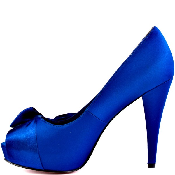 Royal Blue Wedding Heels Peep Toe Satin Chunky Heel Pumps with Bow image 2
