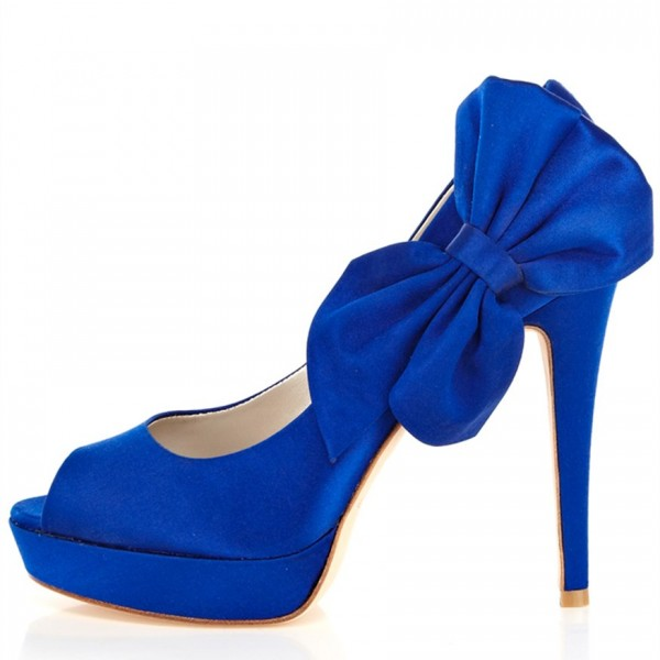 Royal Blue Wedding Shoes Peep Toe  Stiletto Heels Pumps  image 2