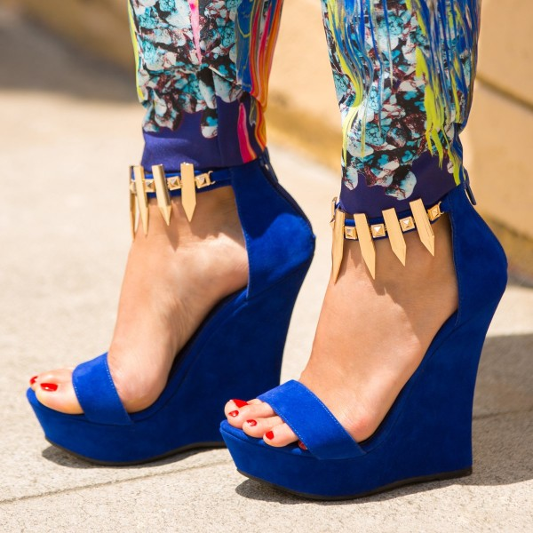 Royal Blue Wedge Sandals with Gold Embelishment Comfortable Shoes image 1