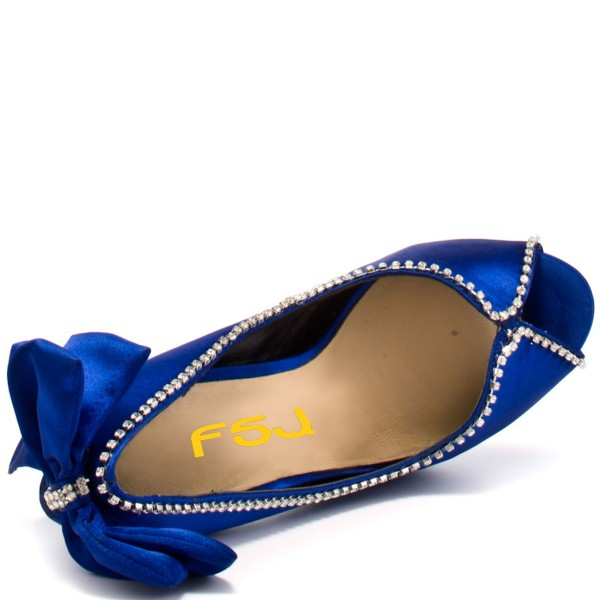 Royal Blue Wedding Heels Satin Bow Rhinestone Stiletto Heels Pumps image 4