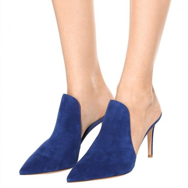 Royal Suede Loafers for Women Pointy Toe Stiletto Heels Mules image 1