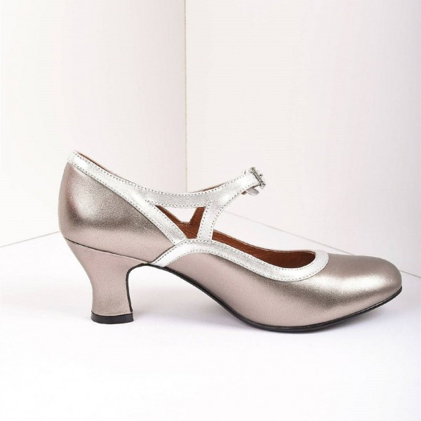 Champange Royal Vintage Metallic Mary Jane Heels Chunky Heel Pumps image 2