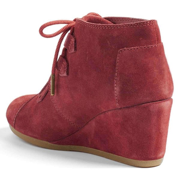 Russet-red Suede Lace Up Wedge Booties image 2