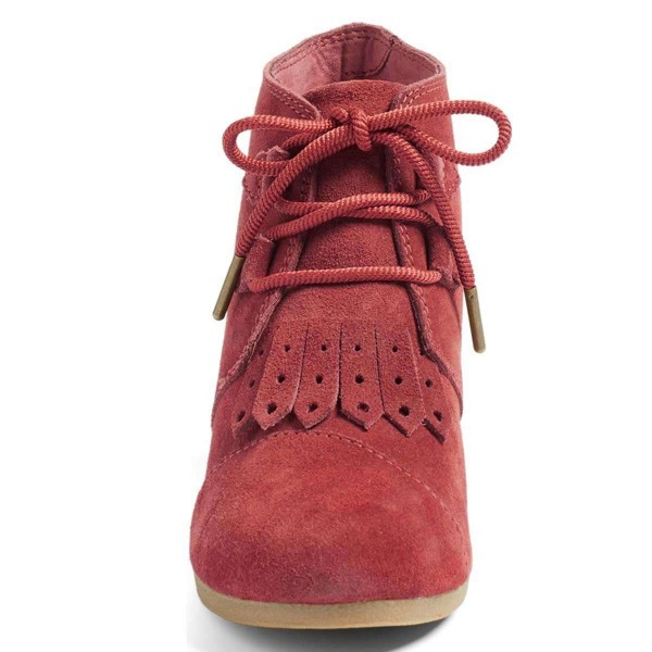 Russet-red Suede Lace Up Wedge Booties image 3