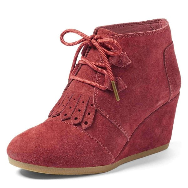 Russet-red Suede Lace Up Wedge Booties image 1