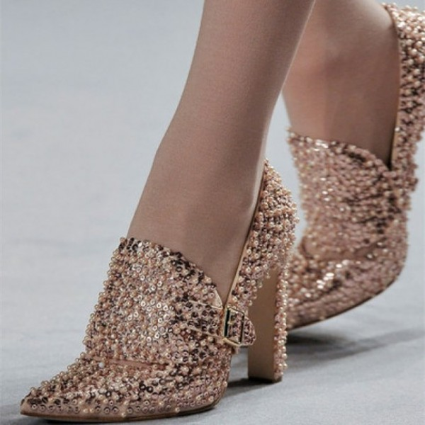 Sequined and Beaded Rose Gold Heels Pointy Toe Loafers for Women image 1