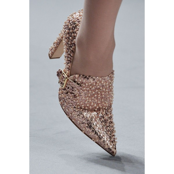 Sequined and Beaded Rose Gold Heels Pointy Toe Loafers for Women image 2