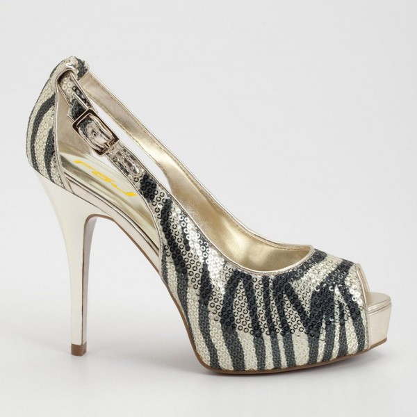 Champagne Zebra Print Sequined Peep Toe Heels Cut out Platform Pumps image 3
