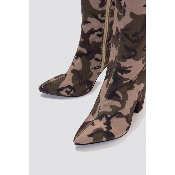 Sexy Camo Over-the-knee Boots Chunky Heel Boots image 3