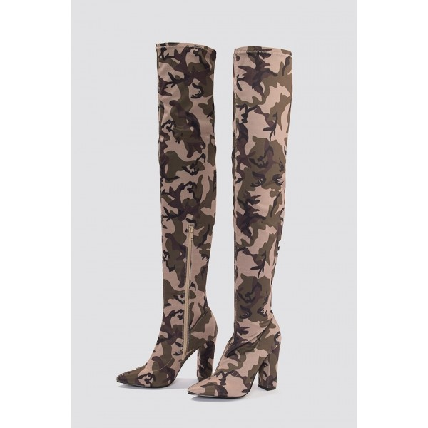 Sexy Camo Over-the-knee Boots Chunky Heel Boots image 2