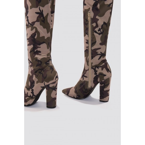 Sexy Camo Over-the-knee Boots Chunky Heel Boots image 4