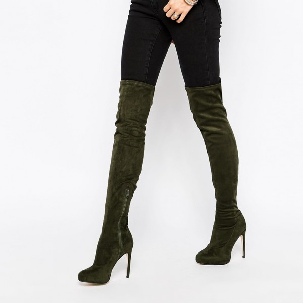 Sexy Deep Green Stiletto Heels Boots Pointy Toe Over-the-Knee Boots   image 1