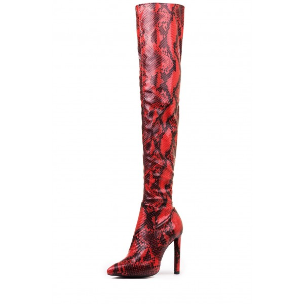 Red Snakeskin Boots Pointy Toe Stiletto Heel Thigh High