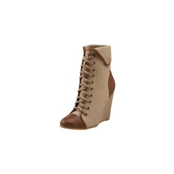 Women's Khaki Lace-up Boots Wedge Heels Vintage Shoes by FSJ Shoes image 1