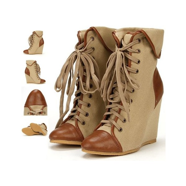 Women's Khaki Lace-up Wedge Heel Ankle Boots-Vintage Shoes image 2