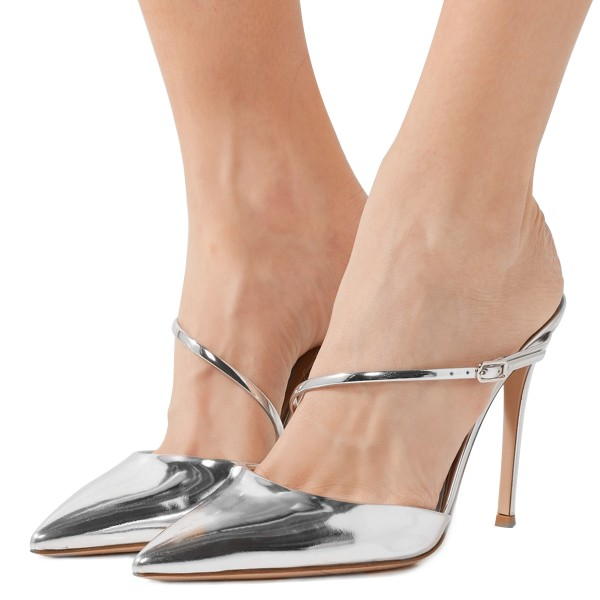 b581019e0fb Silver Metallic Mirror Leather Pointy Toe Mule Heels for Party ...