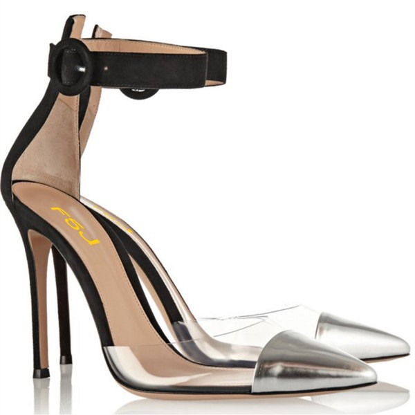 Black and Silver Clear Heels Pointy Toe Stilettos Ankle Strap Heels image 5
