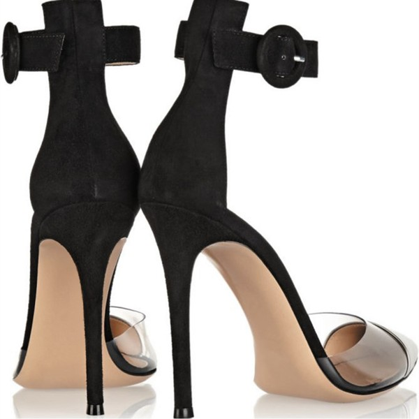 Black and Silver Clear Heels Pointy Toe Stilettos Ankle Strap Heels image 7