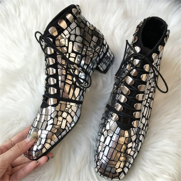 Silver and Black Suede Square Toe Lace Up Boots Ankle Boots image 2