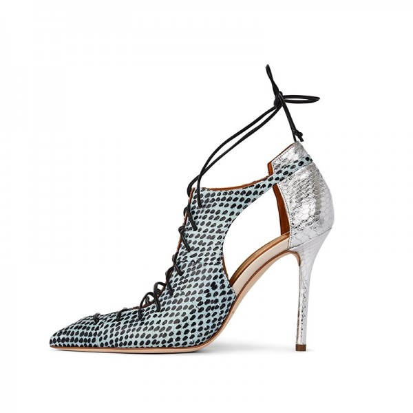 Silver and Cyan Python Lace Up Stiletto Heels Pumps image 2