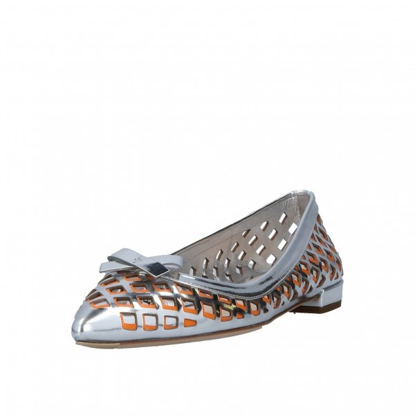 Silver and Orange Hollow out Pointy Toe Flats with Bow image 1