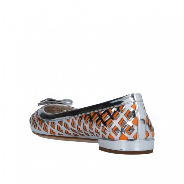 Silver and Orange Hollow out Pointy Toe Flats with Bow image 2