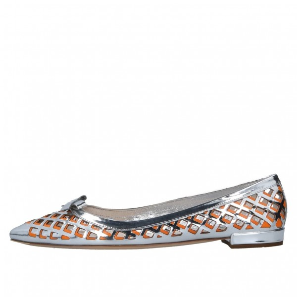 Silver and Orange Hollow out Pointy Toe Flats with Bow image 3