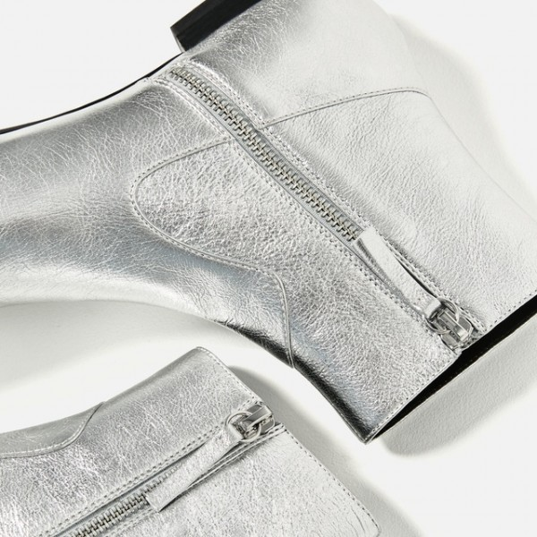 Women's Silver Glitter Fashion Boots Pointed Toe Ankle Boots image 3