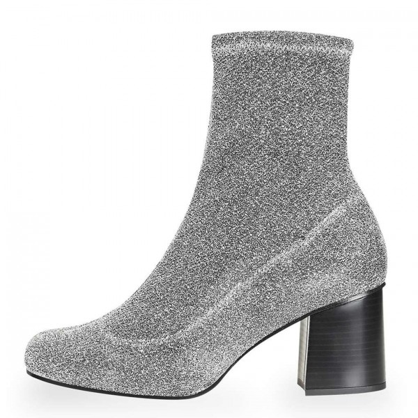 Silver Sock Boots Block Heel Fashion Ankle Boots US Size 3-15 image 1