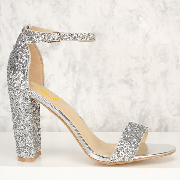 Women's Silver Glitter Shoes Chunky Heels Ankle Strap Sandals image 3